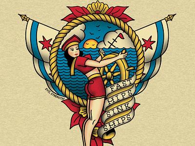 Fast Hips Sink Ships pinup nautical vintage sailor jerry illustration