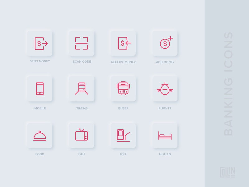 Banking Mobile Application Icons iconography icon pack icon set icons mobile app banking neumorphism neumorphic