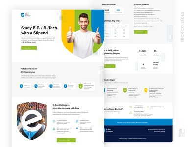 EBox College one page site one page single page branding college landing page landingpage website university