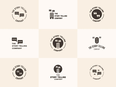 The Story Telling Company - Logo Explorations retro logos fun product company stories storytelling story logo exploration brand branding logo