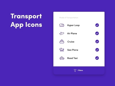 Transport Application Icons line icons line icon icons design mobile app icons mobile app app icon designers app icon design icon app icons app icon application tick filter cruise hyperloop seaplane taxi transportation transport