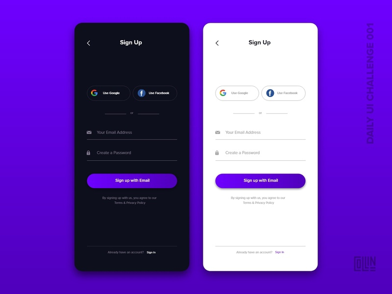 Day 001 ( Sign Up ) - Daily UI Challenge day1 daily ui dailyui mobile app mobile ui ios iphone x signup dailyuichallenge