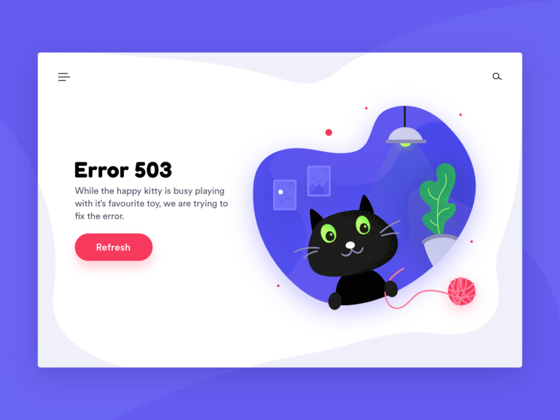 Cat Illustration | Error 503 Page type ux website web icon flat typography vector illustration ui design