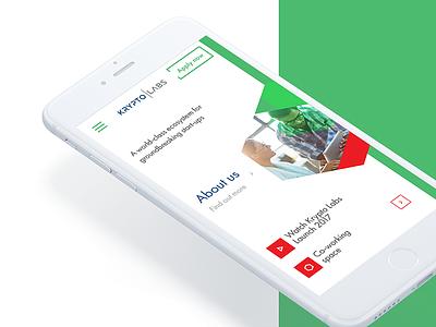 Krypto Labs Mobile Website kryptolabs clean main website startup minimal green mobile