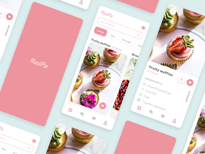 Finding & sharing dessert recipes icon branding app ux ui typography type minimal design clean
