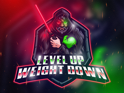 LEVEL UP WEIGHT DOWN MASCOT LOGO fiverr adobe illustrator youtube twitch gaming game esports esports logo mascot logo mascot character branding logo vector illustration design art