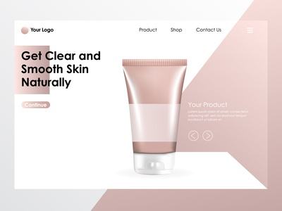 Facial Foam Pack Realistic With Landing Page Illustration