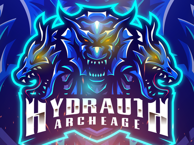 HYDRAUTH ESPORT LOGO hydra dragon twitch youtube illustration branding character gaming mascot logo esports logo vector art design logo mascot esports