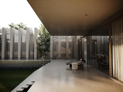 3D rendering for backyard of Bran's Lane project render flatdesign flat building architecture photoshop adobe photoshop 3d archviz architectural visualization