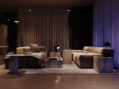 Render with night lighting for living room of Bran's Lane house render flat design flat building architecture photoshop adobe photoshop 3d archviz architectural visualization