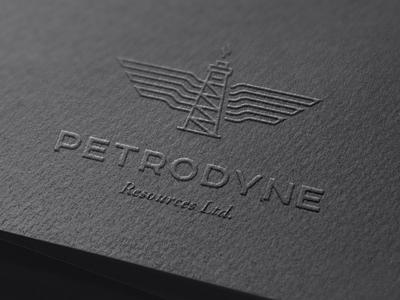 Petrodyne Resources Logo corporate branding oil and gas derrick gas production flame logo branding energy oil petroleum
