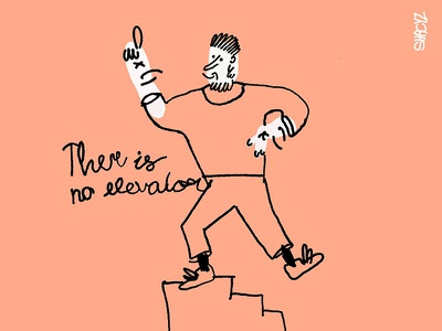True story, there is no elevator for success motivation quotes elevator stairs logo green grain color graphic  design illustration