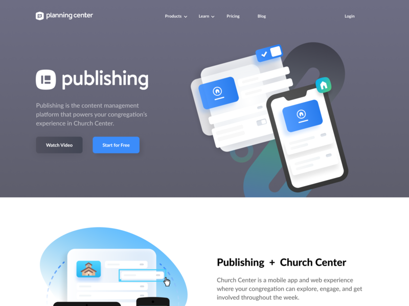 Publishing Page Design shadows ui page layout web layout page church design church center design gradient shading toggle button toggle phone church publishing