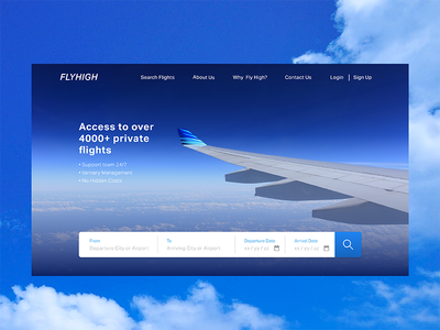 Landing Page (above the fold)- Daily UI # 003 travel charter daily 003