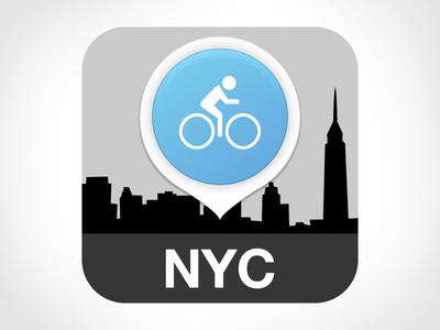 NYC Bike App bike bike app app icon icon launcher icon nyc new york flat clean blue grey