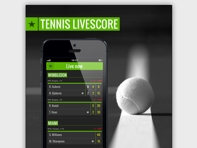 Tennis Livescore tennis livescore app ui ux mobile design green mobile design app design tennis livescore