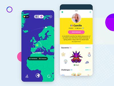 Ablo - Landing & Profile screen chat app live chat mobile app social app souvenirs map profile page profile illustrations app design landing