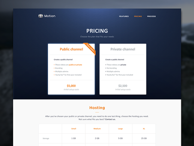 Motion Pricing Page website layout design clean flat blue