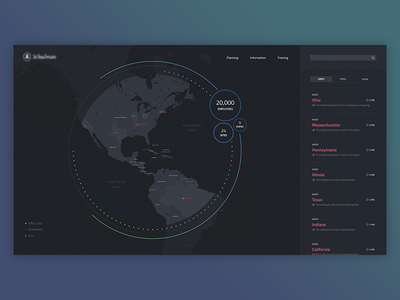 Dashboard animation ux worldmap ui onepager one pager dashboard dark flat clean design layout