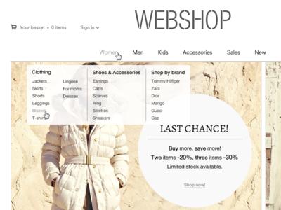 Webshop layout