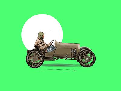 Car illustration illustrator adobe vintage driver car illustration vector