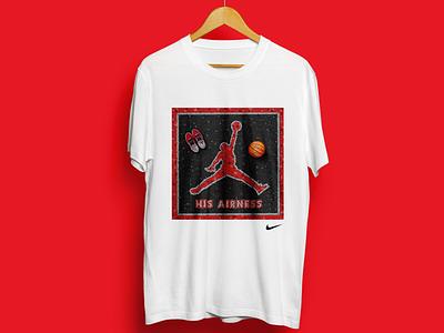 His Airness t-shirt procreate illustration streetwear basketball nba chicago bulls michael jordan fauxsaic t-shirt nike jumpman 23 jordan air