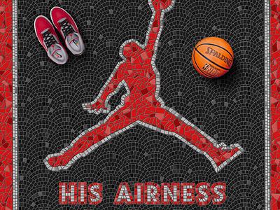 His Airness Fauxsaic fauxsaic procreate illustration nike basketball bulls chicago nba jumpman michael jordan air jordan 23