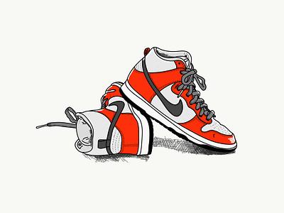 The sneakers series-Nike fashion jordan trainers basketball sneakers nike illustration airjordan1