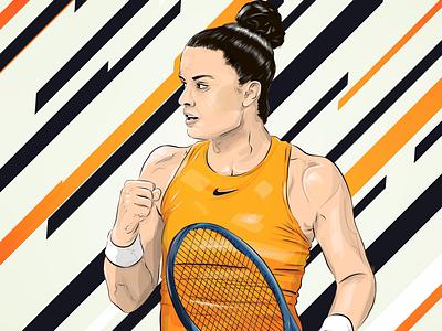 Maria Sakkari-Illustration athlete wta vector illustration sports tennisplayer tennis sakkari mariasakkari