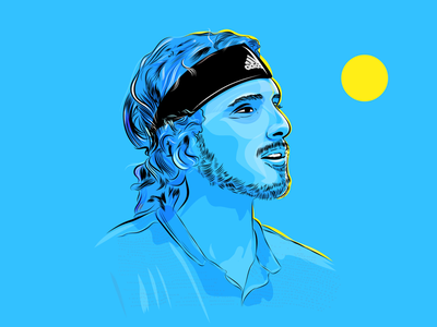 Illustration of tennis player player portrait vector illustration sports tsitsipas tennis