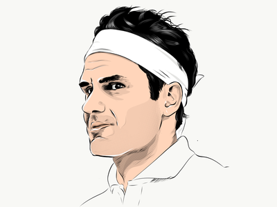 Roger Federer vector player illustrator sports illustration athlete tennis federer roger