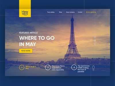 Landing page for Happy Travel tourism agency