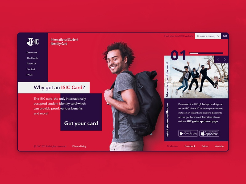 ISIC (International Student Identity Card) Web Home page concept redesign organisation xd isic youth red one page home page news feed identity card international ux ui discount card student