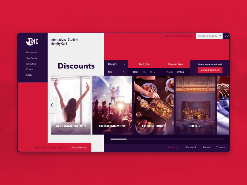 ISIC Web - Discounts Page organisation international red carousel ui ux identity card student card youth student culture categories food and drink food entertainment accomodation discounts
