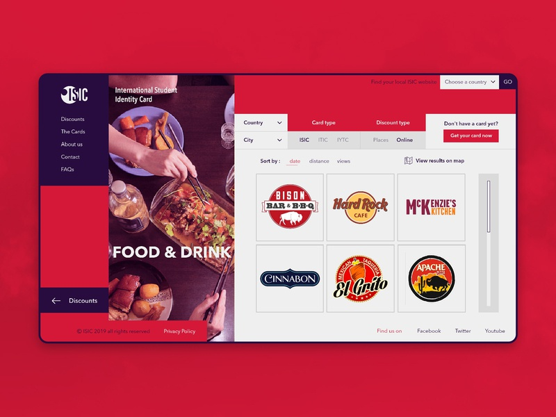 ISIC Web - Discounts Category Page (Food & Drink) bar bbq cinnabon category youth organisation hard rock cafe ui ux discount cafe restaurant drink food and drink food international isic identity card student card student