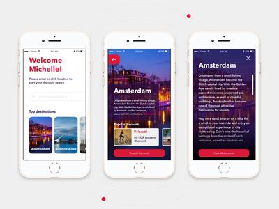ISIC Mobile App - Choosing destination