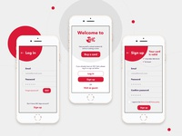 ISIC Mobile App - Log in / Sign up screens