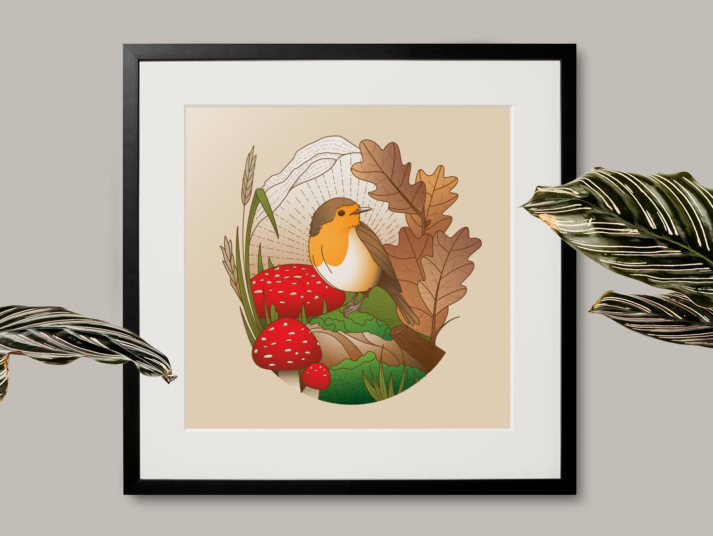 Robin Woods bird nature mushrooms robin print design vector illustration