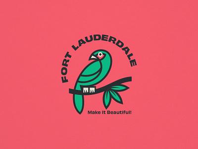 Fort Lauderdale parrot bird miami badge type branding logo