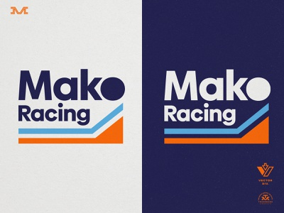 Mako Racing f1 retro vintage sports miami brand racing type branding logo