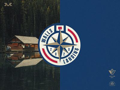 Walls Landing boat nautical compass badge type vintage branding logo