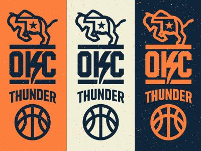 OKC Thunder Re-brand badge monogram type jersey iron sports branding okc brand lightning buffalo oklahoma basketball nike durant thunder logo nba