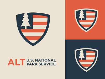 Alt National Parks concept america flag tree park logo