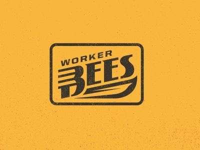 Worker Bees gold retro vintage industrial sweet honey bee wing hornet badge patch logo