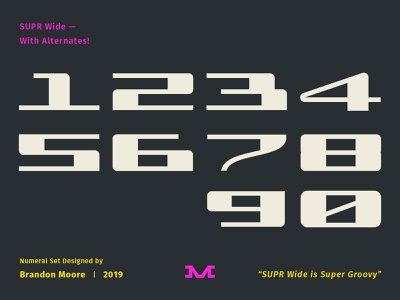 SUPR Wide modern vintage retro moore supr formula motorsport racing font numerals numbers type sports