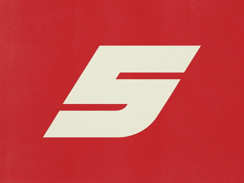 Super 5 retro vintage type design car jersey sports motorsport f1 racing branding logo number type