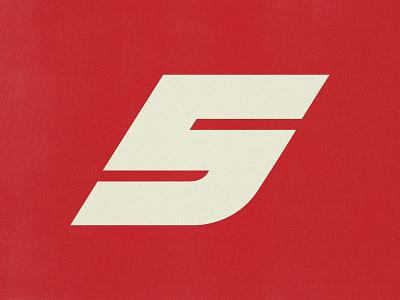 Super 5 retro vintage type design car jersey sports motorsport f1 racing branding logo number type