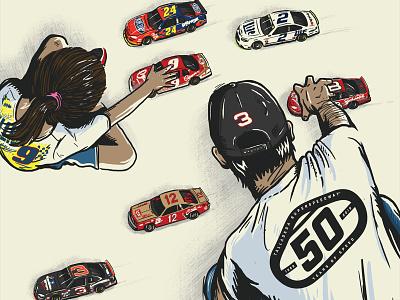 Dega50 sports logo designer vintage branding design formula1 racing illustration poster miami nascar talladega
