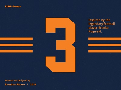 SUPR Power Numeral Set jersey uniform vintage chicago bears nfl branding type font numbers football logo sports