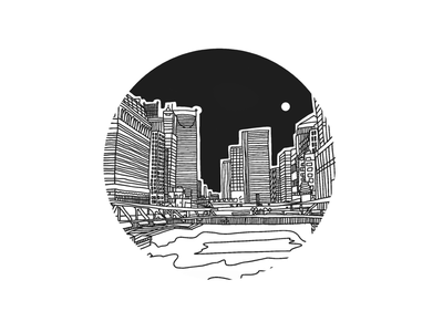 A Chicago Nocturne illustration skyline chicago
